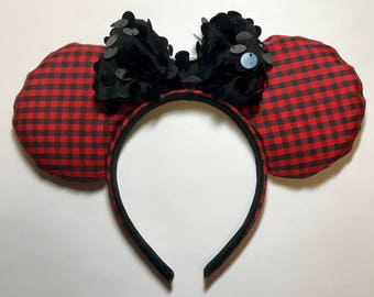 Red and Black, Buffalo Plaid, Minnie Mouse Ears