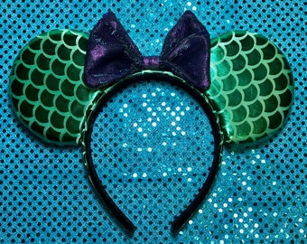 Little Mermaid Inspired, Green and Purple, Minnie Mouse Ears