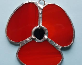 Beautiful poppy made from stained glass