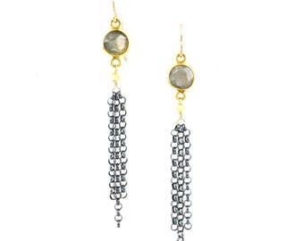 Mixed Metal Labradorite Tassel Earrings, Statement Earrings, Trendy Jewelry, Boho Style Jewelry, Boutique Style Jewelry, Artisan Handcrafted