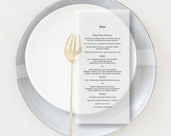 Translucent Vellum Minimal Menus, Slim Elegant Format for Weddings, Parties, Events