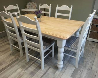 6FT Shabby Chic table set - Dark grey