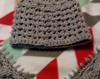 Fleece baby blanket with crochet edge
