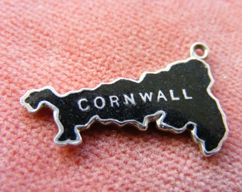 F) Vintage Sterling Silver Charm Enamelled map of Cornwall