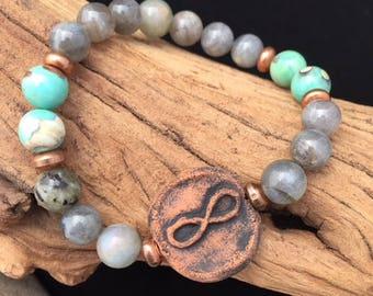 Kiln-Fired Infinity Clay Diffuser Bracelet.Labradorite-Transformation. Aqua Tera Jasper-Taranquitlpy. Mood Boosting Jewelry.