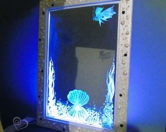 Mirror Sea Pearl - decorative handmade with artistic engraving
