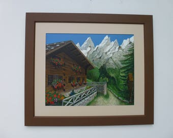 Farmhouse in the mountains, acrylic on Malplatte, landscape