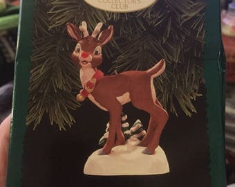 1996 Hallmark Keepsake of Membership Magic Rudolph the Red Nose Reindeer Lighted Free Shipping