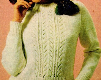 Women's Lacy Jumper, Knitting Pattern, Instant Download.