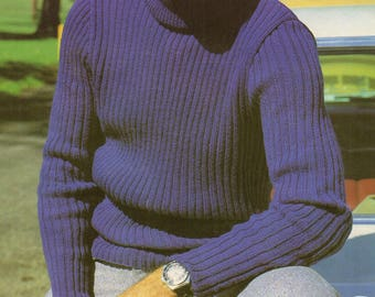 Men's Ribbed Jumper / Sweater, Knitted Pattern, Instant Download.
