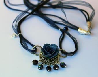 Necklace Blue Rose ~ AstraLuna Bijoux