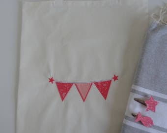 Cotton fabric personalized embroidered bag coral capel Liberty tot bag