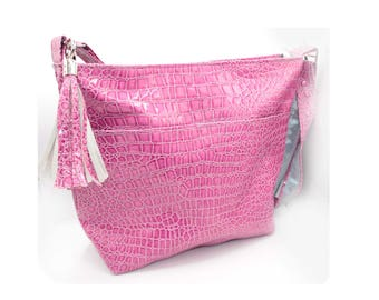 Zippered Tote Bag - Pink, Medium Pink, Crocodile, Faux Leather, Handmade, Handcrafted