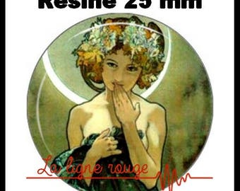 Round cabochon resin 25 mm - Moon stick MUCHA (41) - Alphonse mucha