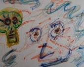 Original Watercolor Painting Abstract 11 x 15 Weird Creepy Faces Eyes Strange Horror Staring Different Skull