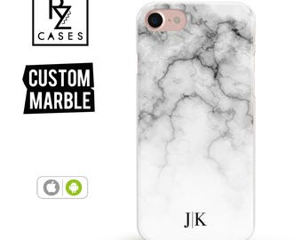 Marble Phone Case, Initial Phone Case, iPhone 7 Case, Personalized Gift for Her, iPhone 7 Plus, iPhone 6S Case, Personalized Gift, Custom