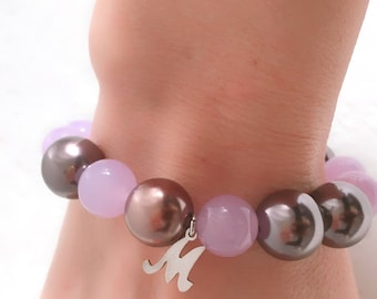 Pearl bracelet. Bracelet with initial name M. Pearl bracelet and lilac agate. Gift Mom. Silver Pendant for bracelet. Lilac bracelet.