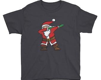 Dabbing Santa T-Shirt Funny Santa Claus Christmas Dab Tee For Youth Hip Hop Dance Pose Short Sleeve T-Shirt