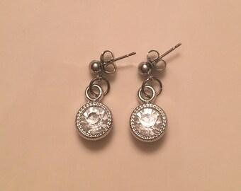 Silver Diamond Pendant Earrings, Wedding Earrings, Bridal Earrings