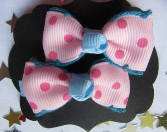 Pink and Blue Polka Dot Hair Slides