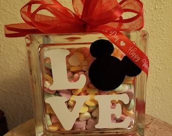 Mickey Love Glass Block
