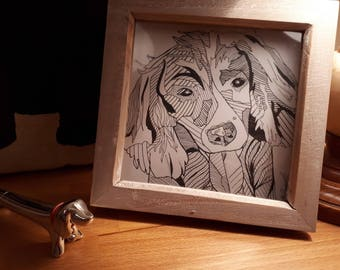 Lucy Dog - Hand drawn, Framed, Black and White, Stylised Illustration, One of a Kind