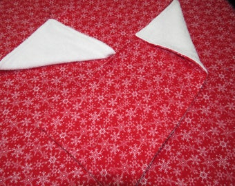 Snowflakes on red recieving blanket and burp cloth set