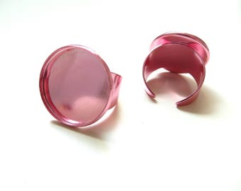 4 cabochon 20mm metallic pink ring holders