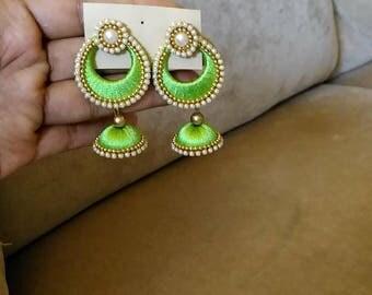 Silk thread chandbali with jhumka earring
