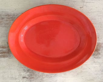 Red/orange Deco oval plate