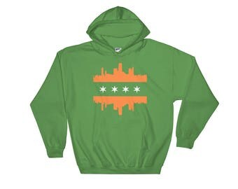 GREEN CHICAGO FLAG Skyline Irish St Patricks Day Hoodie Hooded Sweatshirt
