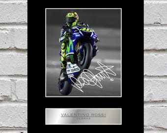 Valentino Rossi 10x8 Mounted Signed Photo Print