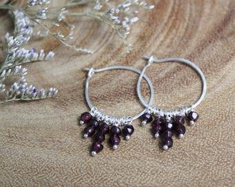 Garnet Sterling Silver Hoops, Hoop Earrings, Natural Gemstone, Dangle Earrings, Bohemian, Gypsy, Hippie, Ready to Ship
