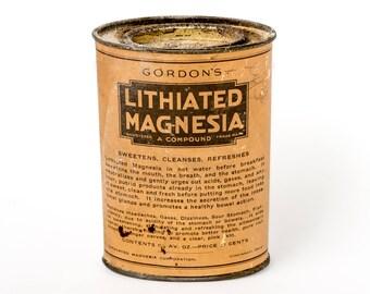 Antique Gordon's Lithiated Magnesia Tin