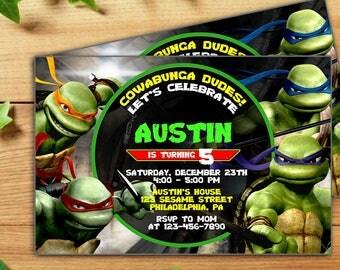 INSTANT DOWNLOAD-Teenage Mutant Ninja Turtle Invitations,TMNT Invitation,Tmnt Invitation Template,Tmnt Party Invitation,Tmnt Pdf Editable