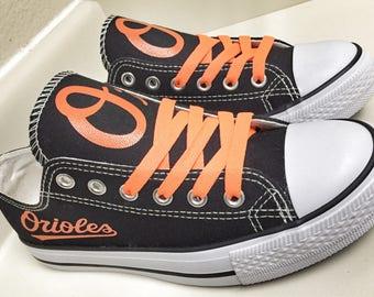Custom BALTIMORE ORIOLES Womens & Mens Black/White/Orange Low Top Canvas Tennis Shoes