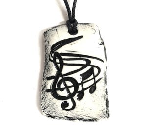 Aromatherapy Necklace - Essential Oil Diffuser Necklace - Glorious Music Pendant - Handmade Ceramic Necklace