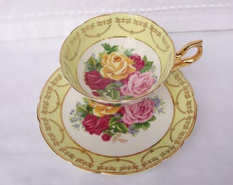Regency Cabbage Rose Yellow and Gold Cup and Saucer