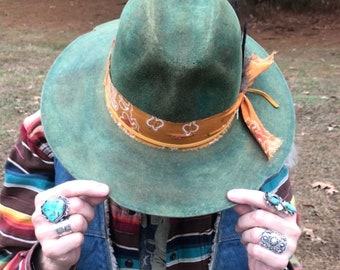 Distressed Green cowboy hat