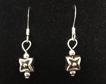 Silver Star Beaded Dangle Earrings - Handmade Beaded Earrings -Dangle Earrings