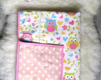 Minky blanket, Girls blanket, Soft blanket, Baby Gift, Owl blanket, Cotton blanket, Newborn blanket, pink blanket
