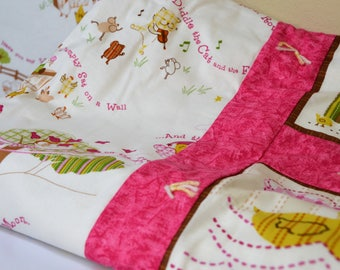 Pink and Yellow Nursery Rhymes Baby Quilt w/album
