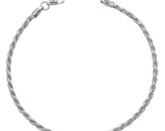 "Sterling Silver Rope Bracelet 2.3mm 6.5"" 7"" 7.5"" inches"