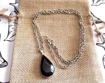 Silver 950 pendant, obsidian Silver