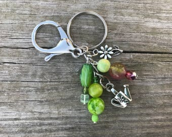 Keychains for Women, Bag Charm, Gift for Gardener, Gardening Gift, Purse Charm, Beaded Keychain, Beaded Bag Charm, Gardener Gift, Wife Gift