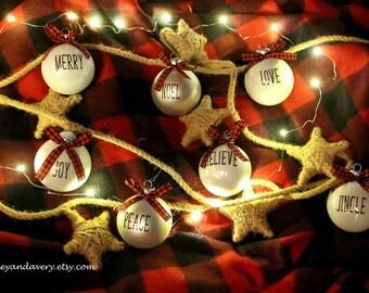 Glass Ornament, White Ornament, Buffalo Plaid, Buffalo Check, Rustic Ornament, Custom Ornament, Handmade Ornament