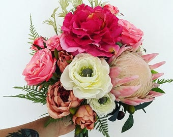 Wedding bouquet/bride/bridesmaid/artificial/silk/flowers/boho/native/rustic/pink
