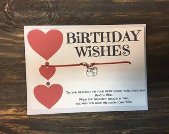 Birthday wish bracelet .Heart wish bracelet .Heart charm bracelet.Birthday card gift