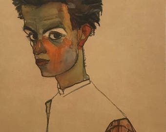 "Egon Schiele ""Self-Portrait"" from Egon Schiele-As a Draughtman by Otto Denesch, 1950, 9.25 x 13.5 inches"