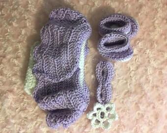 Crochet diaper cover skirt set - purple